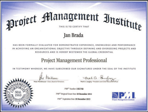 Certifikát PMI PMP Jan Brada