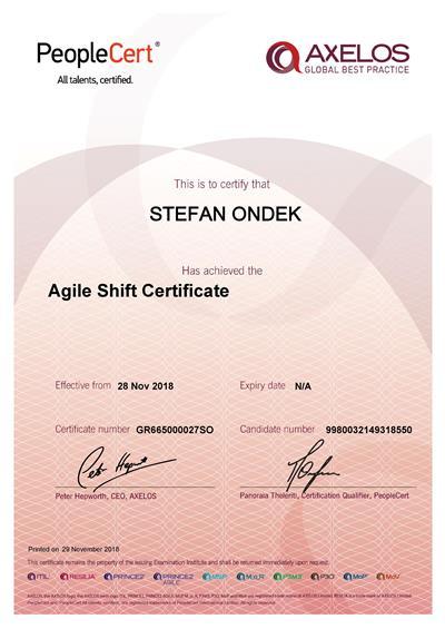 Certifikát AgileSHIFT Štefan Ondek