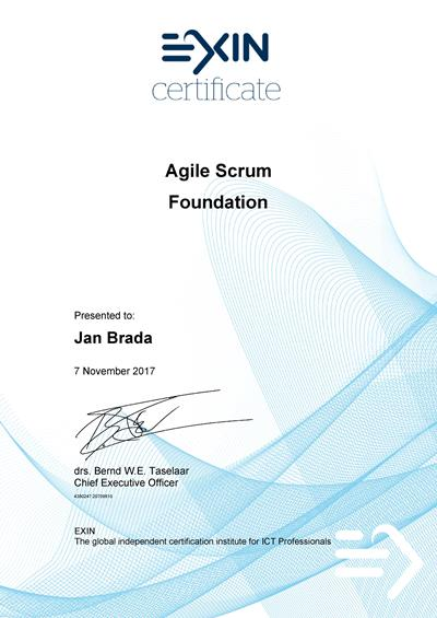 Agile Scrum Foundation certifikát Jan Brada