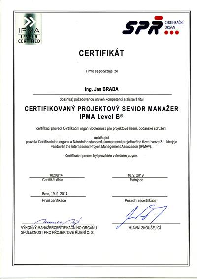 Certifikát IPMA B Jan Brada