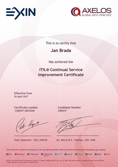 ITIL CSI certifikát Jan Brada