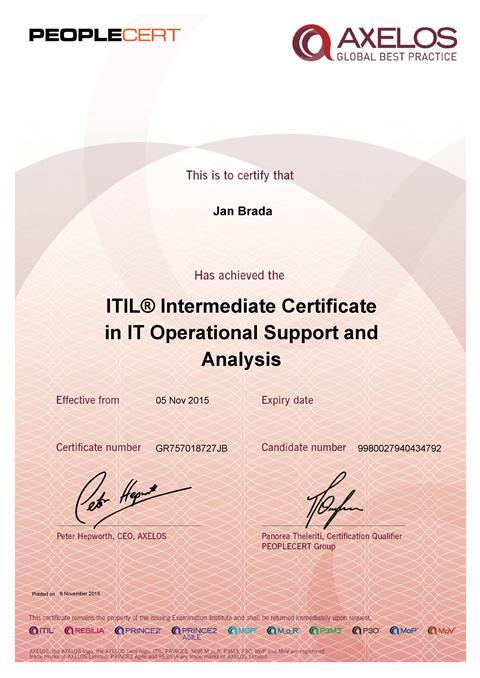 certifikát ITIL OSA Jan Brada