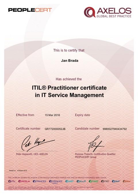 certifikát ITIL Practitioner Jan Brada
