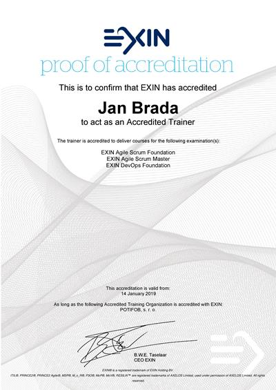 EXIN Accredited Trainer certifikát Jan Brada