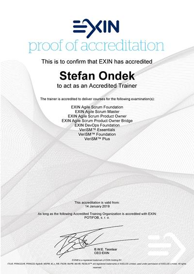 EXIN Accredited Trainer certifikát Štefan Ondek
