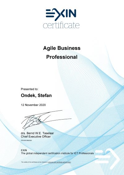 EXIN Agile Business Professional Štefan Ondek