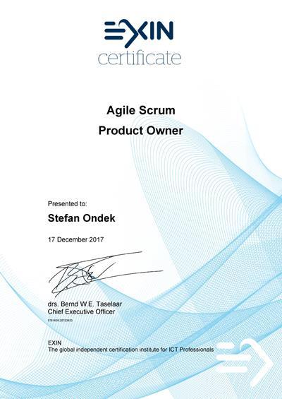 Agile Scrum Product Owner certifikát Štefan Ondek