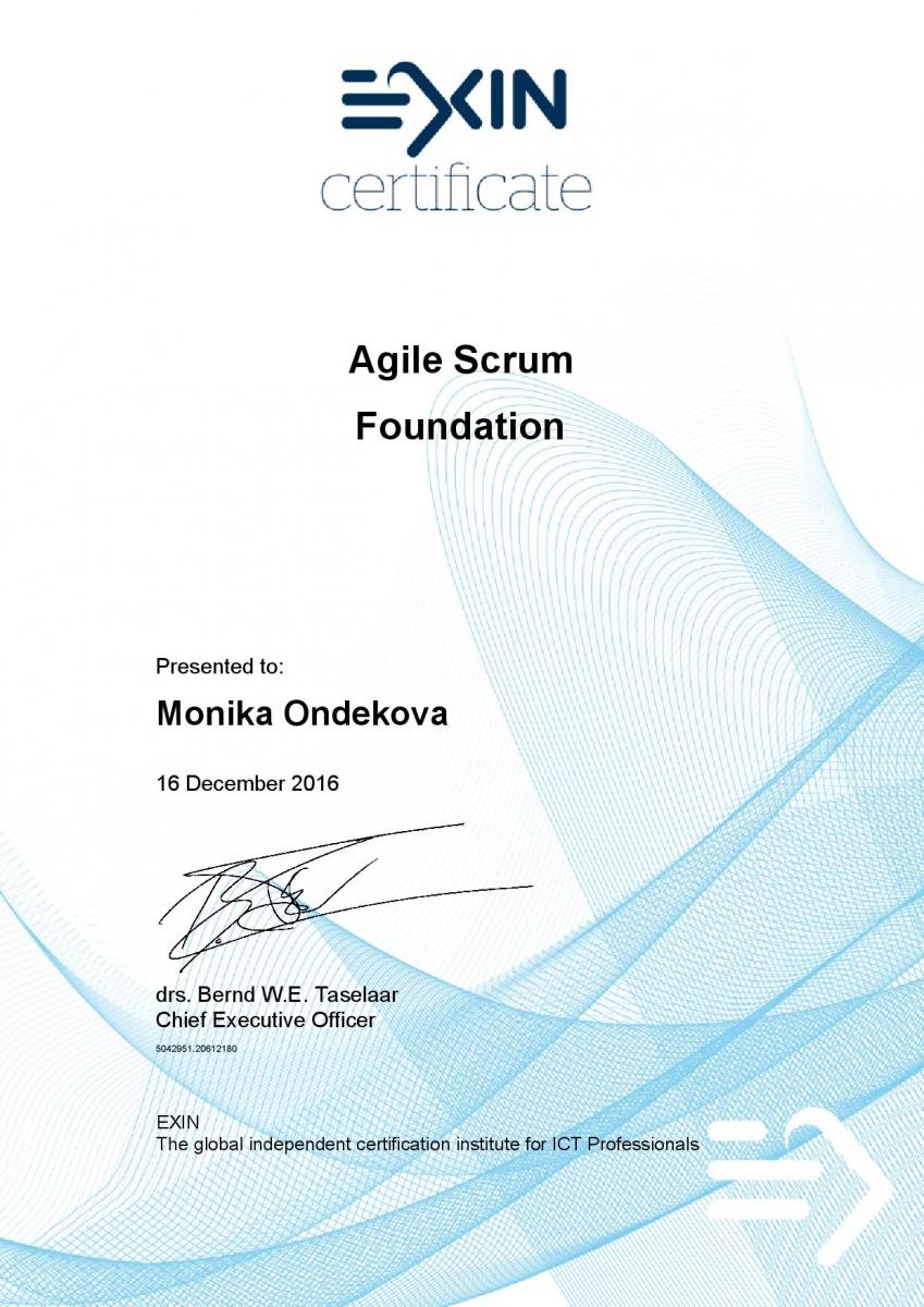 EXIN Agile Scrum Foundation certifikát