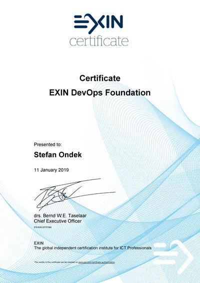 DevOps Foundation certificate Štefan Ondek