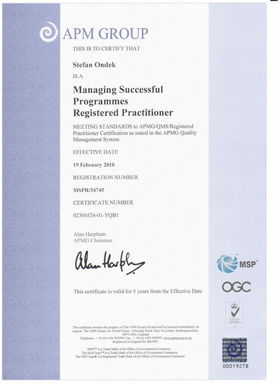 certifikát Managing Successfull Programmes - Practitioner