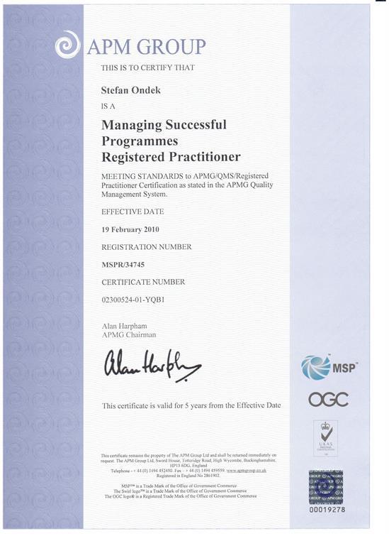certifikát Managing Successfull Programmes - Practitioner
