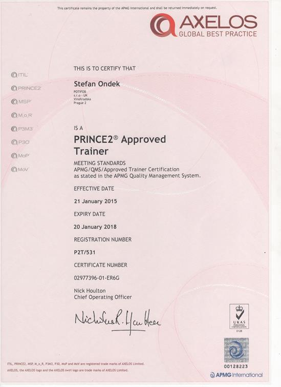 PRINCE2 Approved Trainer certifikát Štefan Ondek APMG 2015-2018