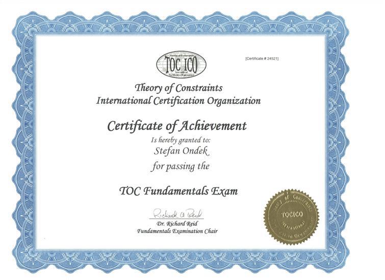 certifikát Theory of Constraints - Foundation
