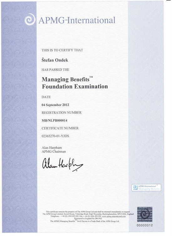 certifikát Management of Benefits - Foundation