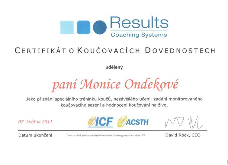 certifikát koučink Monika Ondeková