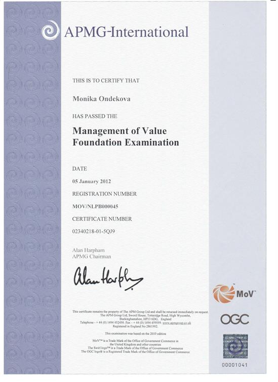 certifikát MoV - Management of Value Foundation Monika Ondeková