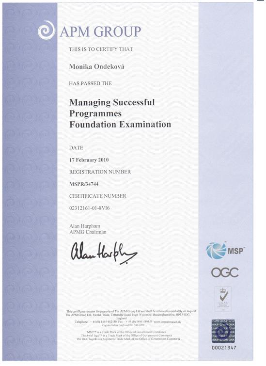 certifikát Managing Successfull Programmes - MSP Foundation Monika Ondeková