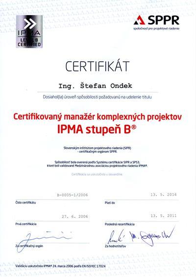 certifikát IPMA - stupeň B
