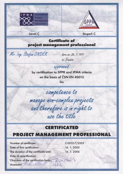 certifikát IPMA C Štefan Ondek