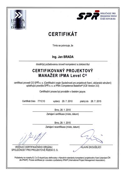 Certifikát IPMA C Jan Brada