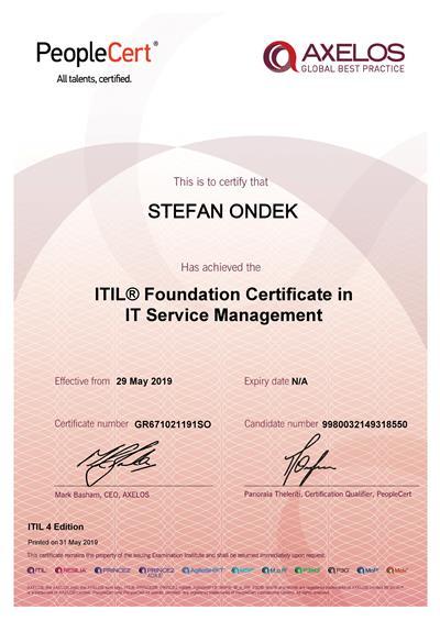 ITIL Foundation certifikát Štefan Ondek