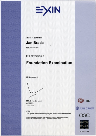 Certifikát ITIL Foundation Jan Brada