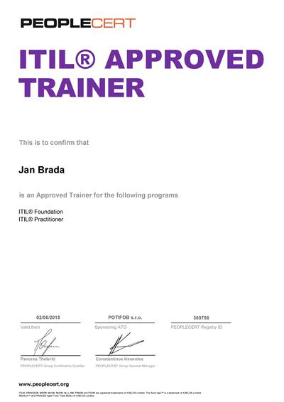certifikát ITIL Approved Trainer Jan Brada