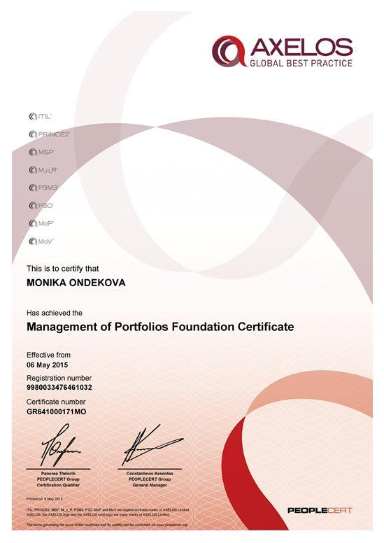 Certifikát MoP Foundation Monika Ondeková