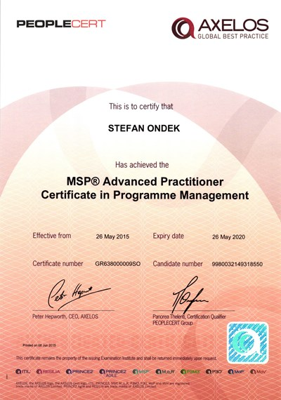 certifikát MSP Registered Advanced Practitioner Štefan Ondek