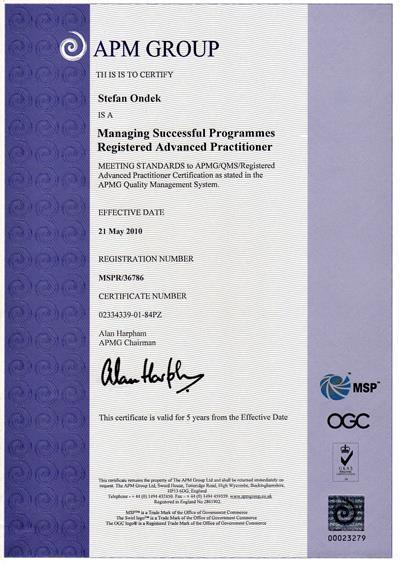 certifikát MSP Registered Advanced Practitioner Štefan Ondek