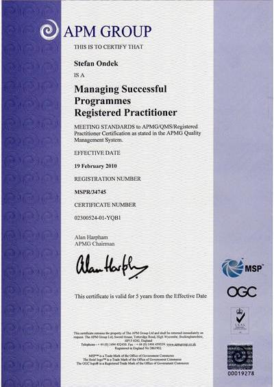 certifikát Managing Successfull Programmes Practitioner Štefan Ondek