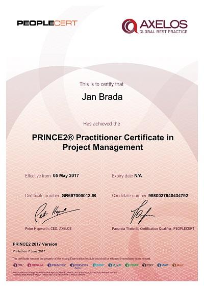 PRINCE2 Practitioner 2017 - Jan Brada