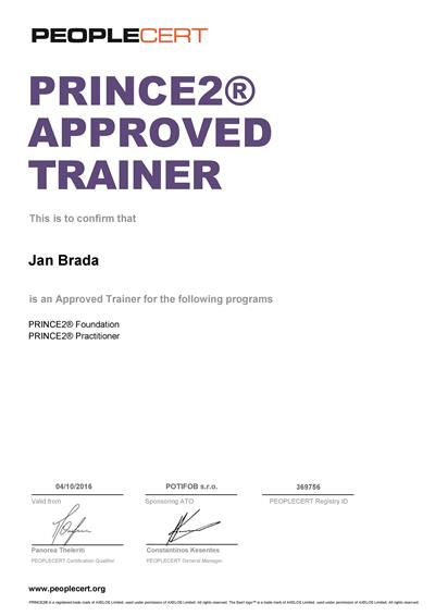 PRINCE2 Approved Trainer certifikát Jan Brada od PEOPLECERT