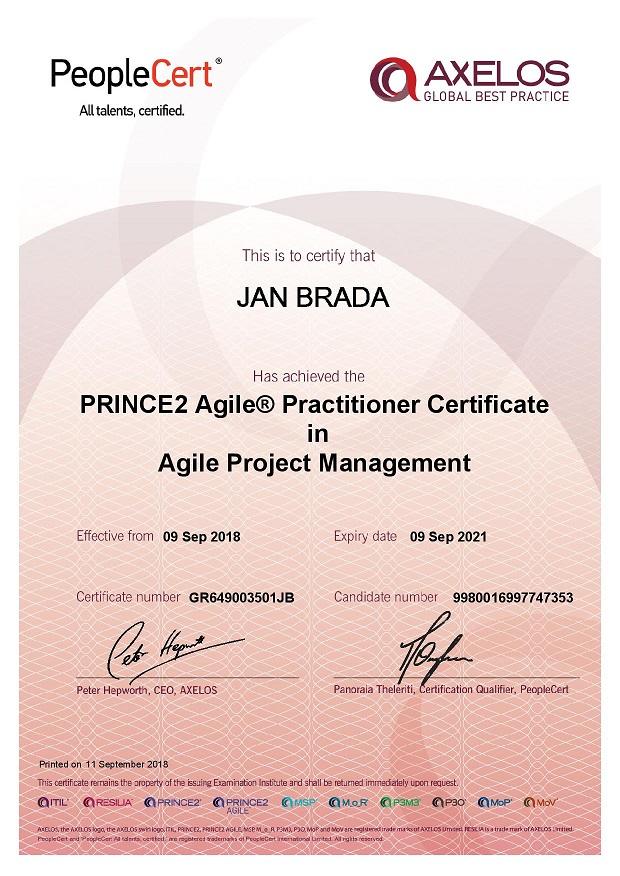 certifikat_PRINCE2_Agile_Practitioner_Jan_Brada