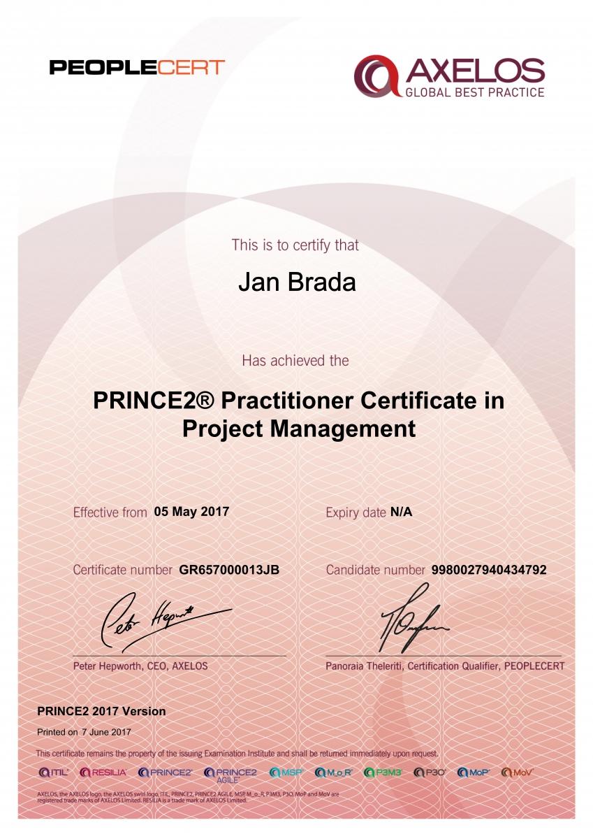 PRINCE2 Practitioner 2017 - Brada Jan