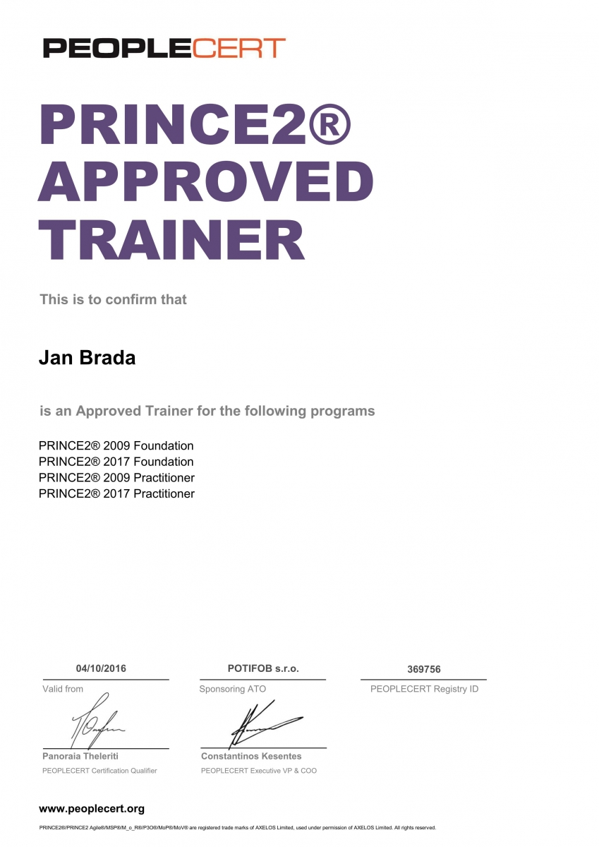 certifikát PRINCE2 Approved Trainer Jan Brada