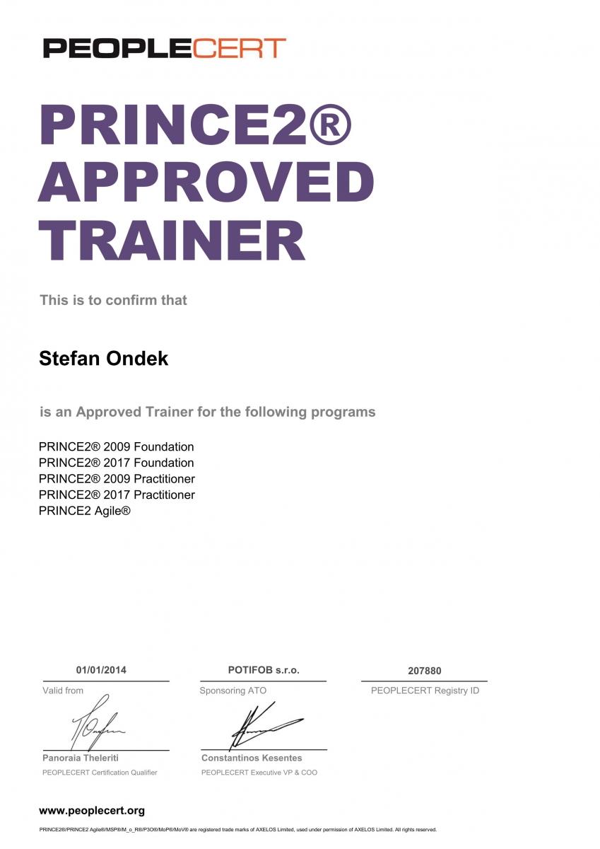 PRINCE2 Approved Trainer 2017 certifikát Štefan Ondek od PEOPLECERT