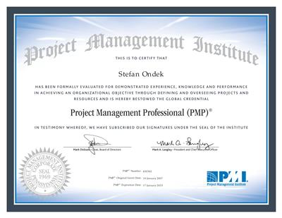 certifikát Project Management Professional - PMI/ PMP