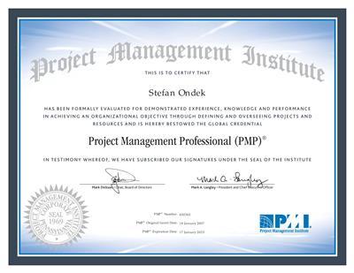 certifikát Project Management Professional - PMI/ PMP