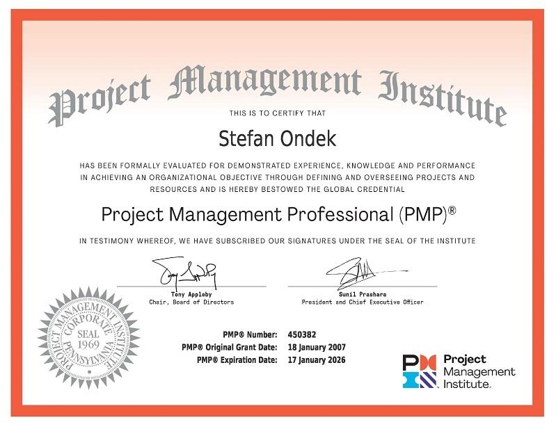PMI PMP certifikát Štefan Ondek