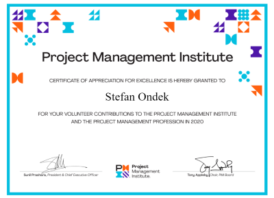 PMI Certificate of Appreciation for Excellence