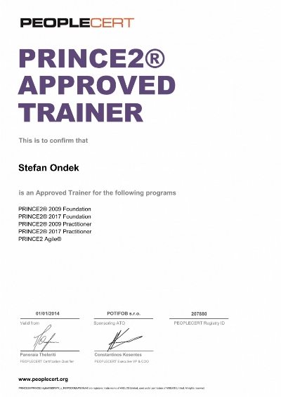 PRINCE2 Approved Trainer certifikát Štefan Ondek