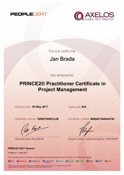 PRINCE2 Practitioner 2017 certifikát Jan Brada