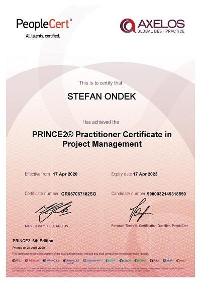 PRINCE2 6th Edition Practitioner certifikát Štefan Ondek