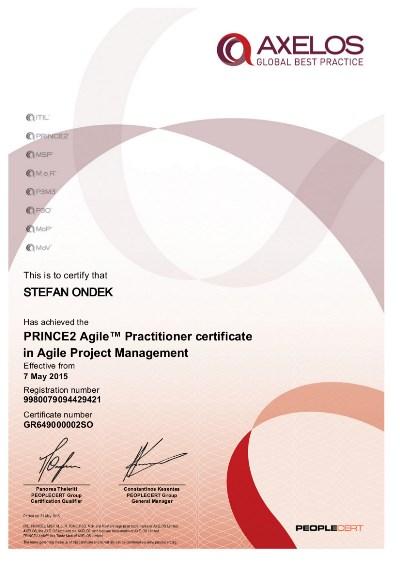 PRINCE2 Agile Practitioner certifikát Štefan Ondek