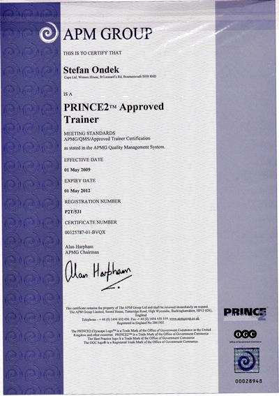 certifikát PRINCE2 Approved Trainer 2009-2012
