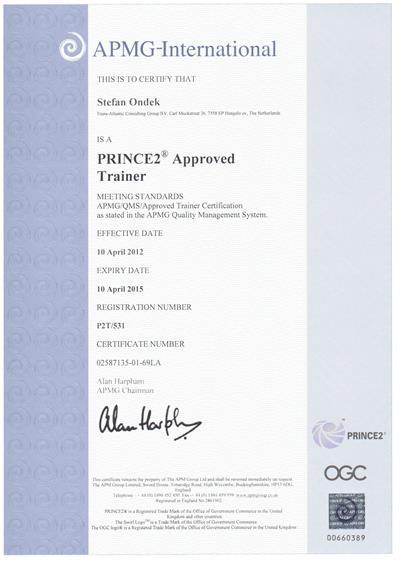 certifikát PRINCE2 Approved Trainer 2012-2015