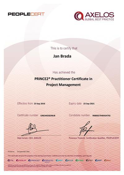 PRINCE2 Practitioner certifikát Jan Brada
