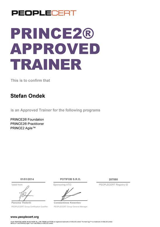 PRINCE2 Approved Trainer certifikát Štefan Ondek od PEOPLECERT
