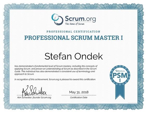 certificate Professional Scrum Master I